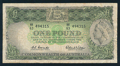"Australia: 1961 QEII £1 Reserve Bank. Dark Green, ""CAPTAIN COOK"" Wmk. F Cat $30"