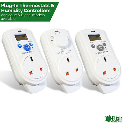 Plug In Thermostats / Humidity Controllers, Digital and Analogue Heating Cooling