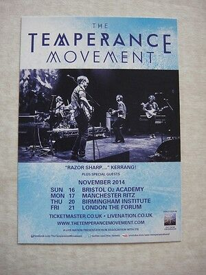 The Temperance Movement - Small Uk Tour Flyer 2014