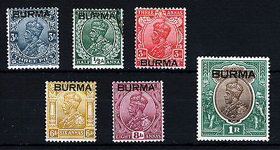 BURMA KG V 1937 Overprinted INDIA Issues SG 1 to SG 13 MINT (Half Anna VFU)
