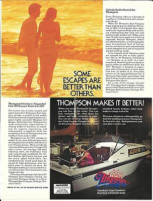 1977 Thompson Boat Company Color Ad- Nice Photo of Voyager