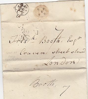 * 1798 POOLE & G OUTSIDE RIM PMKS LETTER ON SHIP RENDEZVOUS?  FREDr BOOTH LONDON