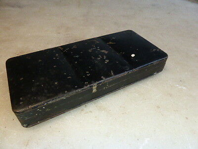 Antique artists small black metal paintbox with double rings on back