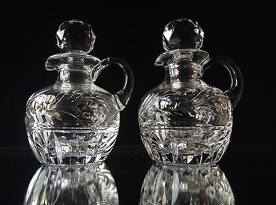 "Pair Of Stuart Crystal Edwardian Small Decanter Jugs 5 1/2"" Signed"