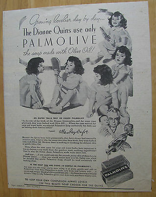 0609 Magazine Ad: Dionne Quints of Canada use Palmolive Soap 1937