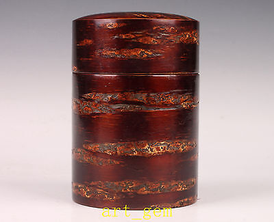 Large High-Grade Solid Wood Carving Cherry Bark Japanese Style Box Tea Caddy Han