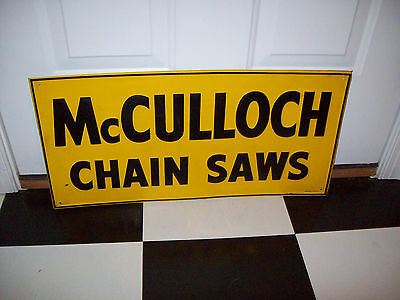 VINTAGE HARDWARE STORE ADVERTISING SIGN 1950'S MCCULLOCH CHAINSAW NOS 23 x 111/2