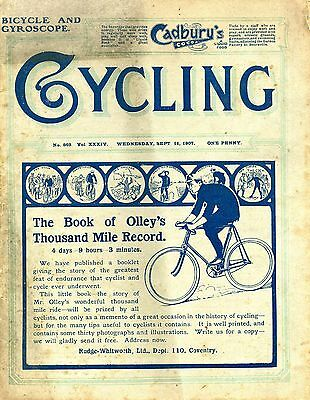 """""""Cycling"""" September 11th., 1907."""