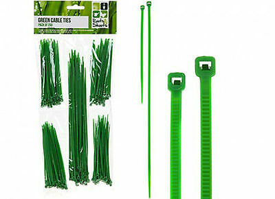 Pack Of 250 Assorted Size Green Garden/home Cable Ties For Plant/plants Support