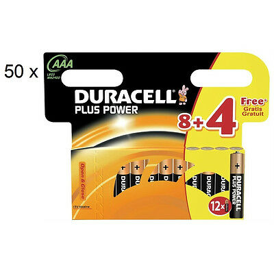 600x Duracell MN2400 Plus Power AAA Triple A Size Remote Battery Batteries