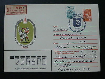 olympic games Moscow 1980 football registered stationery USSR 69995