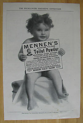 0599 Magazine Ad: Toddler Uses Mennen's Talcum Toilet Powder 1904