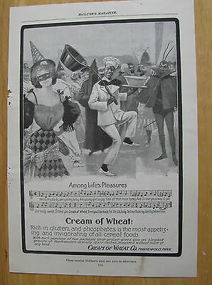 0611 Magazine Ad c1907 Cream of Wheat Cereal Rastus Dances at Masquerade Party
