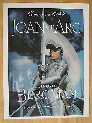 "0594 Magazine Ad: Movie ""Joan of Arc"" Ingrid Bergman 1948"