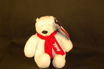 """Authentic CocaCola WHITE POLAR BEAR RED SCARF 07 FRENCH ENGLISH TAG NEW 6"""" Plush"""