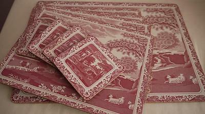 SET OF SPODE ITALIAN TABLE & PLACE MATS & COASTERS in Scarce RED COLOURWAY V.G.C