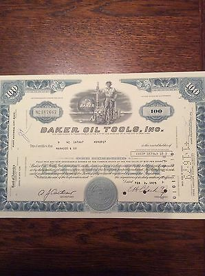 Baker Oil Tools Inc Dated 1975 100 Shares Invalid  SHARE CERTIFICATE