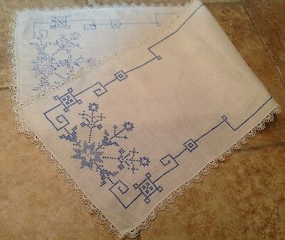 Vintage Cotton Table Runner, Dresser Scarf, Blue Cross Stitch Embroidery, White
