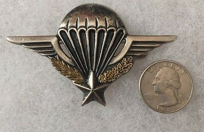 VINTAGE Rare WWII PARACHUTE & STAR JUMP WINGS PIN Authentic Antique WAR MEDAL
