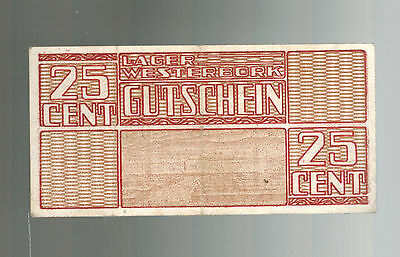 1944 Westerbork Netherlands Concentration Camp KZ Currency 25 Cent Bill
