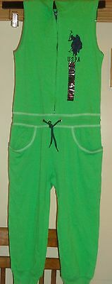 U.s Polo Assn. Kelly Green Hooded  Sleeveless  Drawstring Tie Jumpsuit Nwt 10/12
