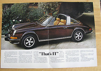 0551 Double Magazine Ad: Porsche Targa Convertible Car 1973