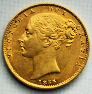 NICE 1855 Queen Victoria Gold Shield Sovereign - NO RESERVE