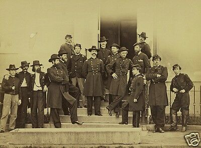Union Major General E.O.C. Ord and Staff on steps - 8x10 US Civil War Photo