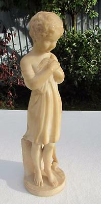 Beautiful Antique 19thC Italian Alabaster Figure Girl and Dove  -  Hand-Carved