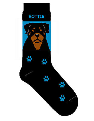 Rottweiler Socks Cotton Crew Stretch Blue