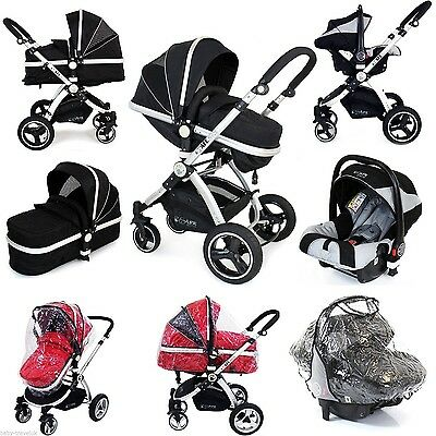 Travel System 3 in 1 iSafe Pram Black + Car Seat + Raincovers