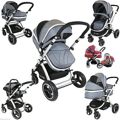 iSafe Pram System 3 in1 Baby Travel Pramette Grey With Car Seat & Raincover