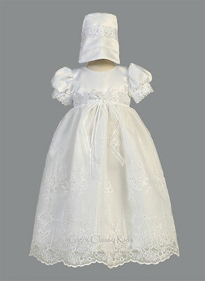 New Baby Girls White Satin Organza Dress Gown Christening Baptism Bonnet Ashley