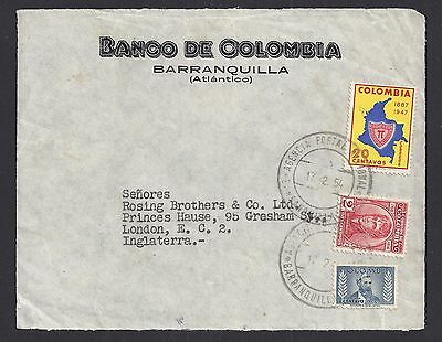 Letter from COLOMBIA to ENGLAND with 3 Stamps