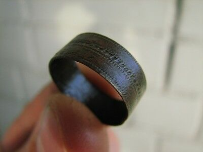 NICE BRONZE MEDIEVAL RING with ORNAMENT  # 4979