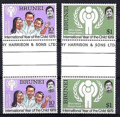 Brunei (5700) 1979 International Year of the Child set in gutter pairs Sg277-8
