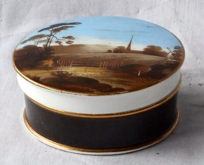 Hand Painted Pot Lid And Base With A Country Scene