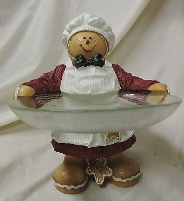 Gingerbread Man Serving Set Christmas Holiday Candy Cane Holly Chef Cookie Plate