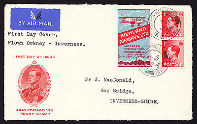 Highland Airways Poster stamp on 1936 King Edward VIII FRONT of First Day Cover