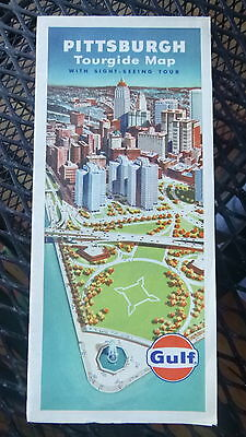 1963 Pittsburgh  metro road  map Gulf oil gas downtown streets Pennsylvania