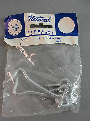 """National Mfg. Co. 3"""" Hooks & Eyes Steel Wire Zinc Plated Two Per Package Nos"""