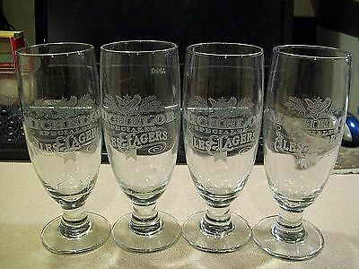 Set of 4 Michelob Specialty Ales & Lagers Stemmed Etched Beer Glasses Nice!!!!!!