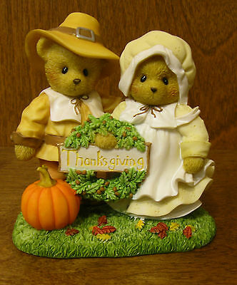 """Cherished Teddies #4034590 THOMAS and MARY """"THANKFUL FOR LIFE'S BLESSINGS"""""""