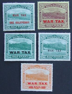 5 mint Dominica different War Tax overprinted mint stamps