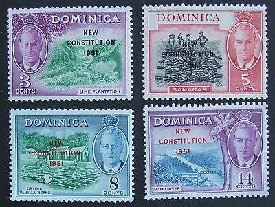Set of Dominica 1951 New Constitution overprint mint stamps