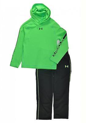 Under Armour Boys Neon Green L/S Thermal Hoodie Top 2pc Pant Set Size 5