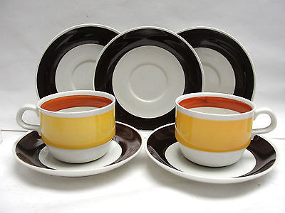 TWO (2) RORSTRAND CHINA, SWEDEN - FOKUS Pattern - CUP & SAUCER SETS + extras