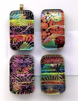 PREMIUM 4 pcs MULTI LAYERS COLORS pendant DICHROIC FUSED GLASS (i4) CAB MOSAIC