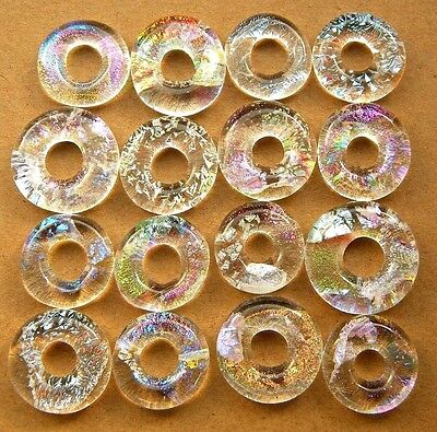 Lot 16pcs rings DICHROIC earrings pendant FUSED GLASS lampwork (i8) CABS