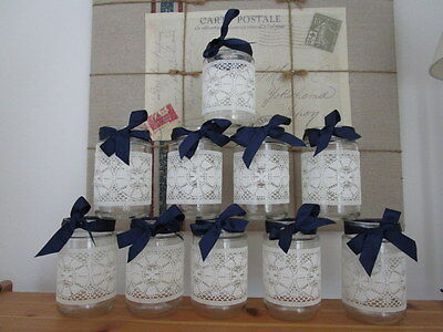 10 Vintage Glass Jars Vases Centre Pieces Navy Blue Shabby Chic Wedding Lace